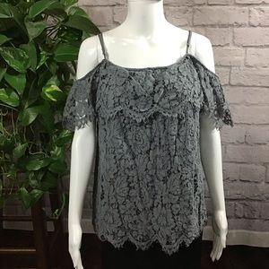 Tops - Gray lace open shoulder top